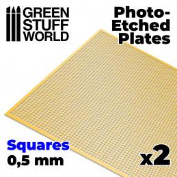 Messing-Tiefdruckbleche - Kleine Quadrate