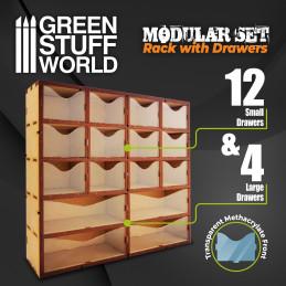 Vertikales MDF-Rack mit Schubladen