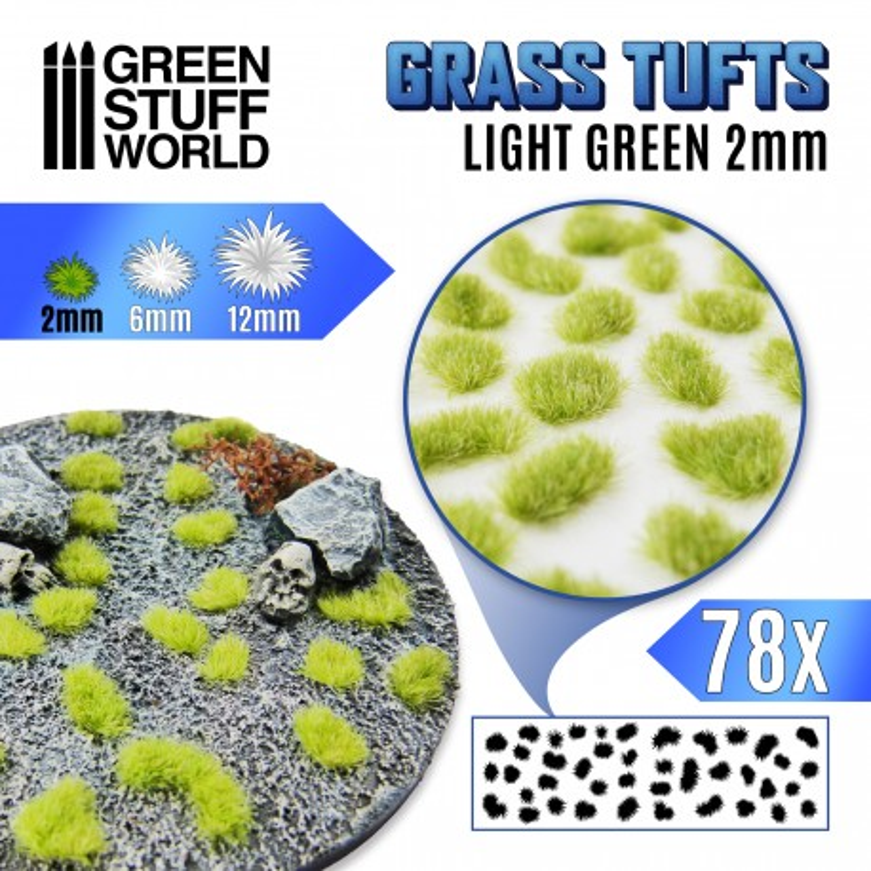 Grass TUFTS - 2mm self-adhesive - Light Green