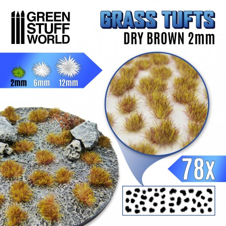 Grass TUFTS - 2mm self-adhesive - Dry Brown