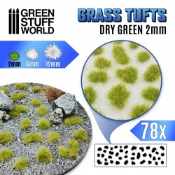 Grass TUFTS - 2mm self-adhesive - DRY GREEN