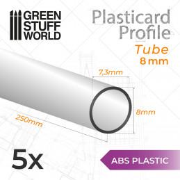 ASA Polystyrol-Profile ROHRPROFIL RUND Plastikcard 8mm