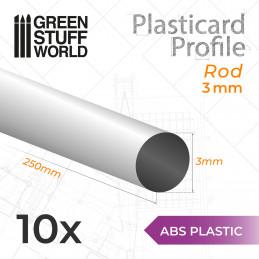 ABS Plasticard - Profile ROD 3 mm