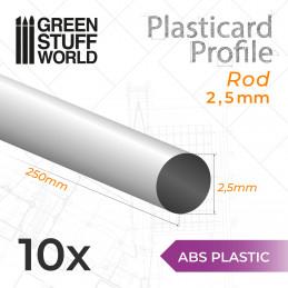 ABS Plasticard - Profile ROD 2,5mm