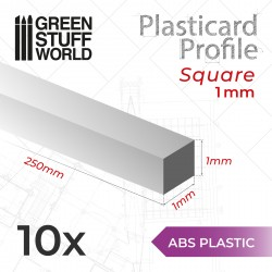 ABS Plasticard - Profile SQUARED ROD 1mm