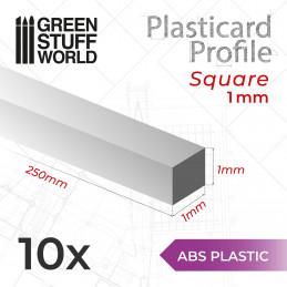 Plasticard PROFILÉ TIGE CARRÉE plein 1mm