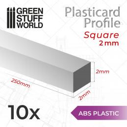 ASA Polystyrol-Profile QUADRAT STÄBE Plastikcard 2mm