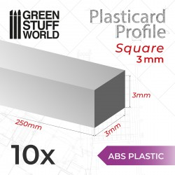 ABS Plasticard - Profile SQUARED ROD 3mm