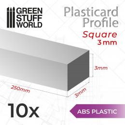 Perfil Plasticard BARRA CUADRADA 3 mm