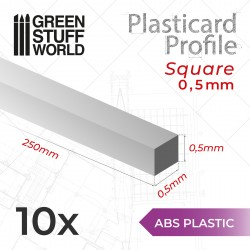 ABS Plasticard - Profile SQUARED ROD 0,5mm