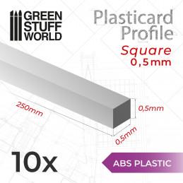 Plasticard PROFILÉ TIGE CARRÉE plein 0,5mm