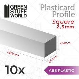 Perfil Plasticard BARRA CUADRADA 2.5mm