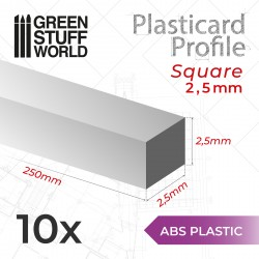 Plasticard PROFILÉ TIGE CARRÉE plein 2.5mm