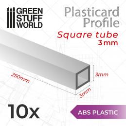 Perfil Plasticard TUBO CUADRADO 3 mm