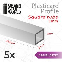 ABS Plasticard - Profile SQUARED TUBE 5mm