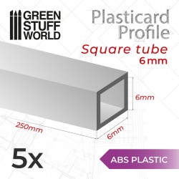 Perfil Plasticard TUBO CUADRADO 6mm
