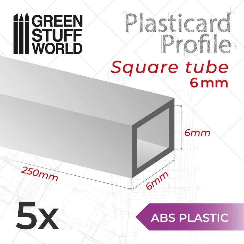 ASA Polystyrol-Profile ROHRPROFIL QUADRAT Plastikcard 6mm