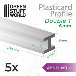 Perfil Plasticard en H 6mm (Viga)