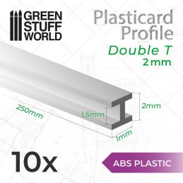 Perfil Plasticard DOBLE-T 2mm