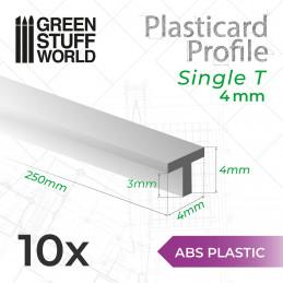 Perfil Plasticard Perfil-T 4mm