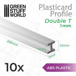 ABS Plasticard - Profile DOUBLE-T 1 mm