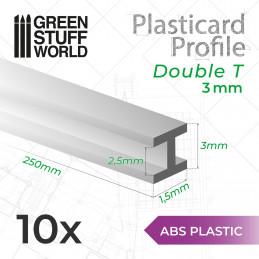 ABS Plasticard - Profile DOUBLE-T 3mm
