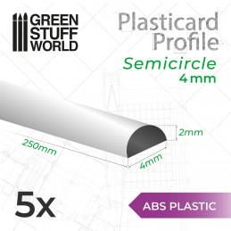 ASA Polystyrol-Profile HALB-RUNDSTANGEN Plastikcard 4mm
