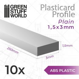 Perfil Plasticard TIRAS PLANAS 3mm