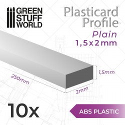 ABS Plasticard - Profile RECTANGLED ROD 1.5x2mm