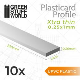 uPVC Plasticard - FLACHPROFILE Xtra-dünn 0,25x1 mm
