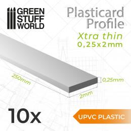 uPVC Plasticard - FLACHPROFILE Xtra-dünn 0.25mm x 2mm