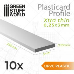 uPVC Plasticard - FLACHPROFILE Xtra-dünn 0.25mm x 3mm