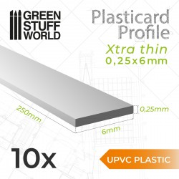 uPVC Plasticard - FLACHPROFILE Xtra-dünn 0.25mm x 6mm