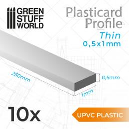 Perfil Plasticard uPVC - Fino 0.50mm x 1mm