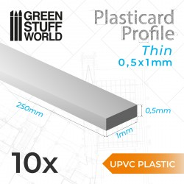 uPVC Plasticard - Fin 0.50mm x 1mm