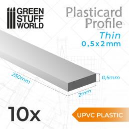 Perfil Plasticard uPVC - Fino 0.50mm x 2mm
