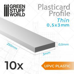 Perfil Plasticard uPVC - Fino 0.50mm x 3mm