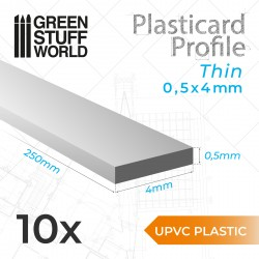 uPVC Plasticard - Fin 0.50mm x 4mm