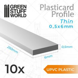 Perfil Plasticard uPVC - Fino 0.50mm x 6mm