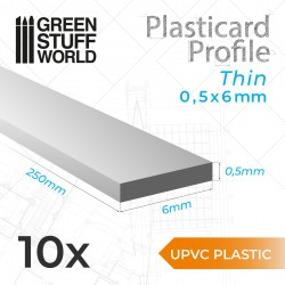 uPVC Plasticard - Dünn 0.50mm x 6mm