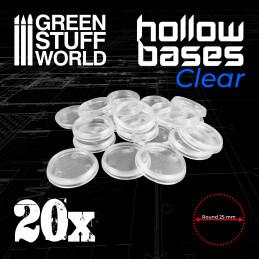 Socles en plastique transparent avec CREUX - Rond 25mm