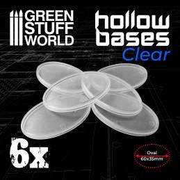Socles en plastique transparent avec CREUX- Ovales 60x35mm