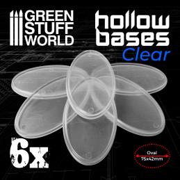 Socles en plastique transparent avec CREUX - Ovales 75x42mm