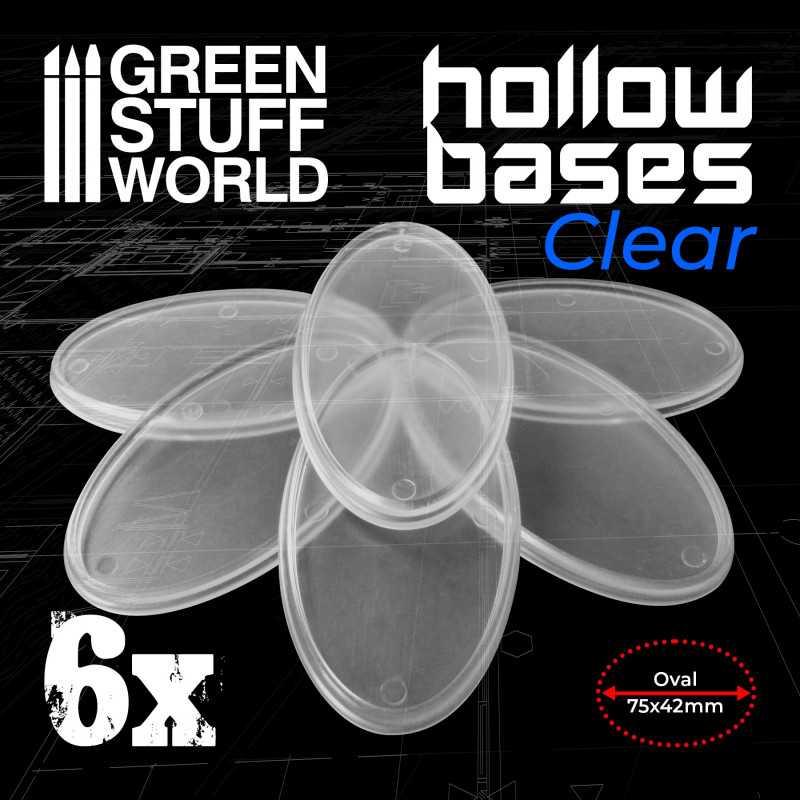 Transparente Kunststoffbasen mit Lücke 75x42mm - Oval