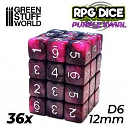 36x D6 12mm Dés de Jeu - Marbre Violet