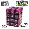 36x D6 12mm Dice - Purple Swirl