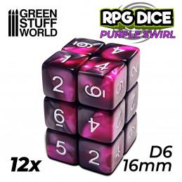 12x D6 16mm Dés de Jeu - Violet Marbre