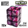 12x D6 16mm Dice - Purple Swirl