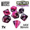 7x Mix 16mm Dice - Purple Swirl