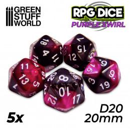 5x D20 20mm Dés de Jeu - Violet Marbre
